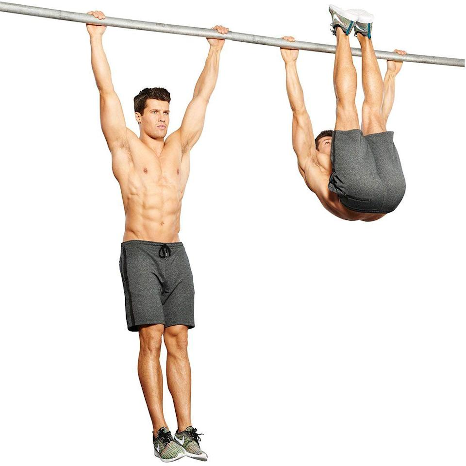 <p>Hang with an overhand grip and squeeze your core to raise your legs. Flick your feet to touch the bar with your toes. Push down with your shoulders to move your torso behind the bar. Scale by touching knees to elbows with the same technique.</p>