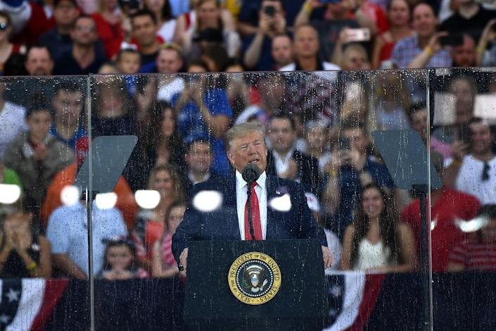 """US President Donald Trump speaks during the """"Salute to America"""" Fourth of July event at the Lincoln Memorial in Washington, DC, July 4, 2019."""