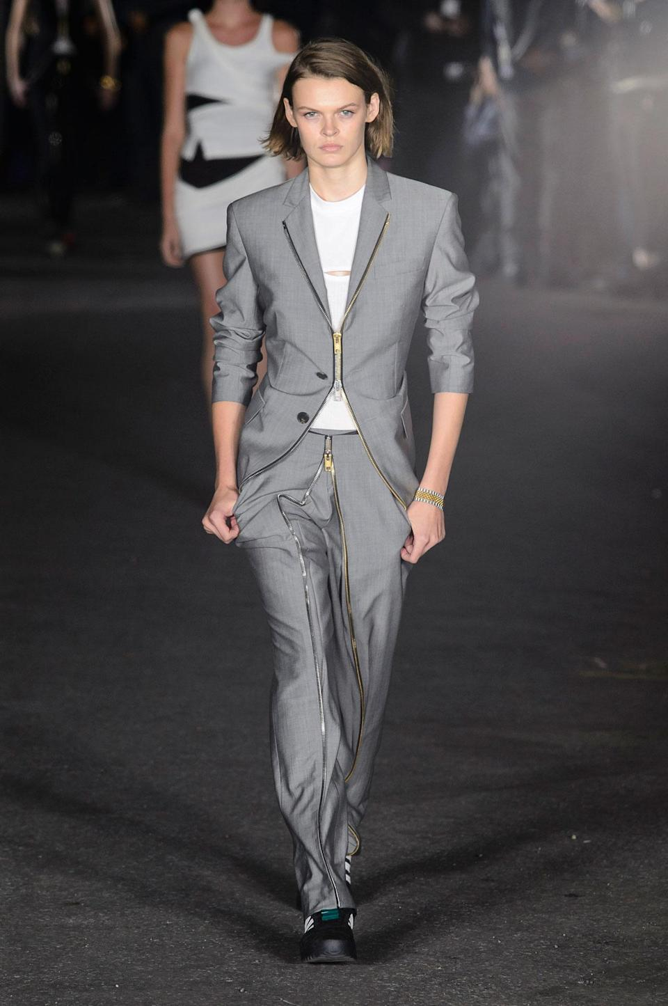 <p>Fitted gray suit from the SS18 Alexander Wang collection. (Photo: ImaxTree) </p>