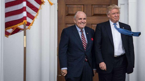 PHOTO: A file photo shows President Donald Trump greeting Rudy Giuliani at the clubhouse at Trump National Golf Club Bedminster in Bedminster Township, N.J., Nov. 20, 2016. (The Washington Post via Getty Images, FILE)