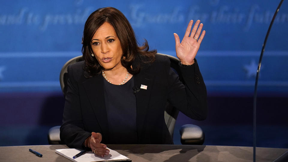 Democratic vice presidential candidate Sen. Kamala Harris, D-Calif., responds during the vice presidential debate with Vice President Mike Pence Wednesday, Oct. 7, 2020, at Kingsbury Hall on the campus of the University of Utah in Salt Lake City. (AP Photo/Julio Cortez)