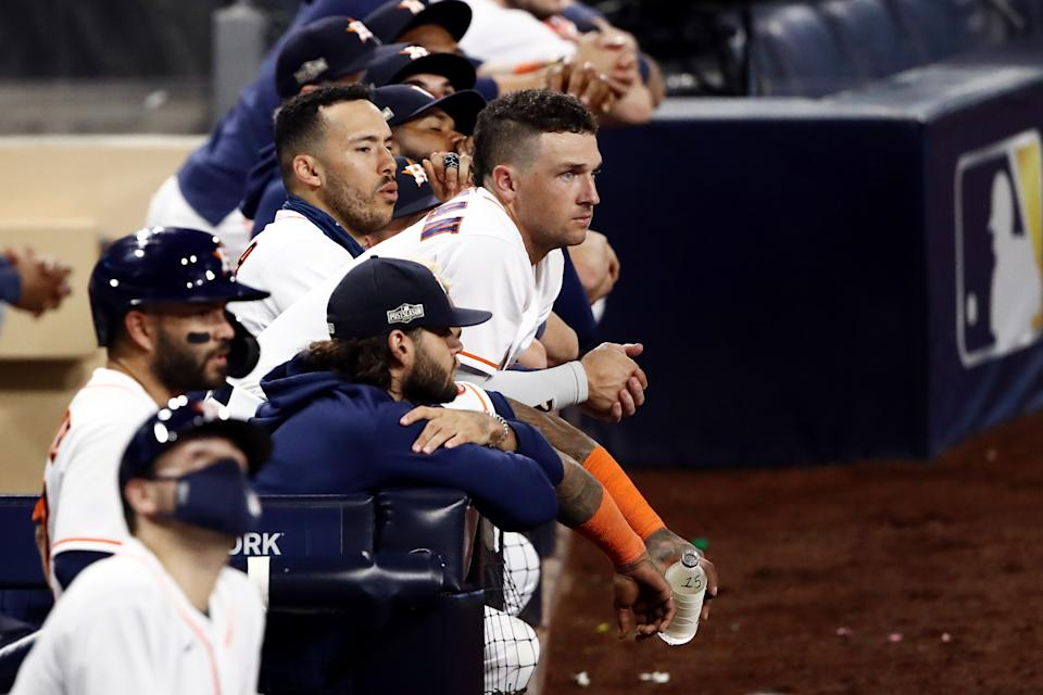 SAN DIEGO, CALIFORNIA - OCTOBER 13: Alex Bregman #2 of the Houston Astros looks on from the dugout during the ninth inning against the Tampa Bay Rays in Game Three of the American League Championship Series at PETCO Park on October 13, 2020 in San Diego, California. (Photo by Ezra Shaw/Getty Images)