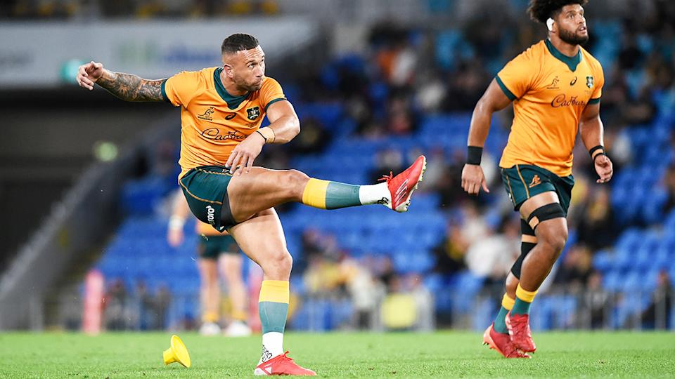 Quade Cooper, pictured here kicking for the Wallabies against South Africa.