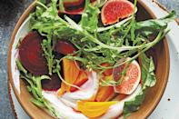 "Set roasted, jewel-toned beets and fresh figs over creamy, tart labneh and scatter with honeyed pecans for an autumn salad that's both fresh and comforting. <a href=""https://www.epicurious.com/recipes/food/views/beet-and-fig-salad-with-candied-pecans?mbid=synd_yahoo_rss"" rel=""nofollow noopener"" target=""_blank"" data-ylk=""slk:See recipe."" class=""link rapid-noclick-resp"">See recipe.</a>"