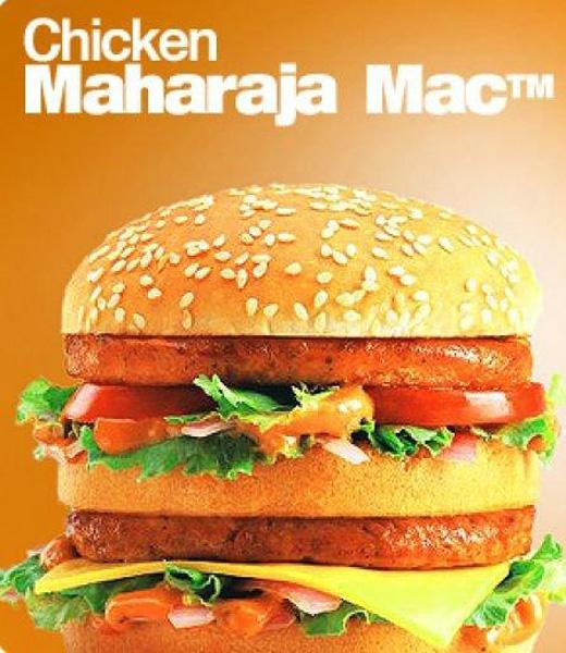 India: Another product that is very popular in Indian McDonald's is the Chicken Maharajah Mac, which is made with two grilled chiken patties and topped with onions, tomatoes, cheese and a spicy mayonnaise. (flickr/McDonald's)