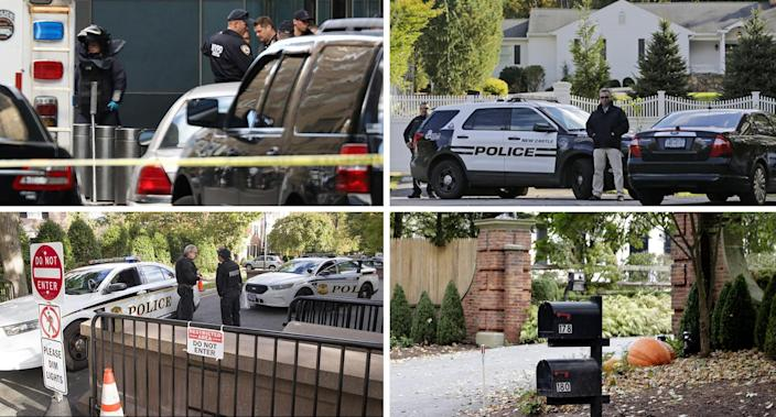 Clockwise from top: An NYPD bomb squad stands outside the Time Warner Center in New York City; police officers outside a property owned by Hillary and Bill Clinton in Chappaqua, N.Y.; mailboxes at the entrance to a house owned by George Soros in Bedford, N.Y.; Secret Service officers at a checkpoint near the home of Barack Obama in Washington, D.C. (Photos: Kevin Coombs/Reuters, Seth Wenig/AP, Alex Brandon/AP, Seth Wenig/AP)