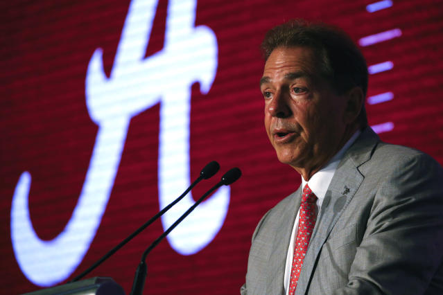 Alabama head coach Nick Saban speaks during Southeastern Conference Media Days on Wednesday. (AP Photo/Butch Dill)