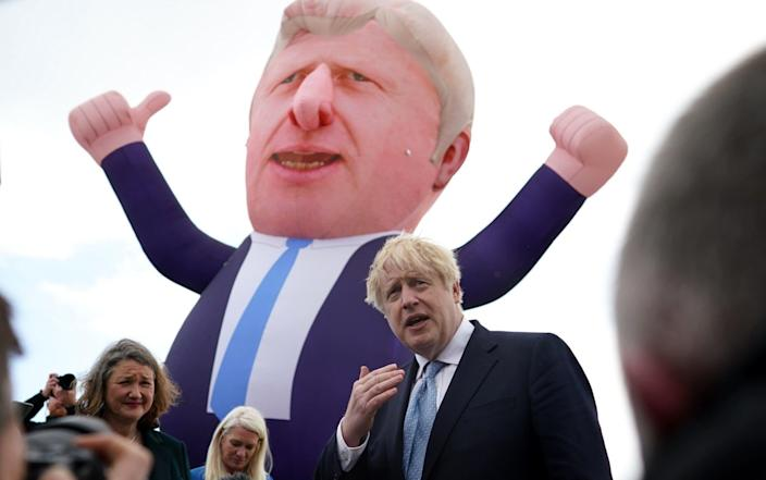 Boris Johnson alongside the Conservative Party candidate Jill Mortimer and a blow up version of himself after the Tories won the Hartlepool by-election - Ian Forsyth/Getty Images Europe