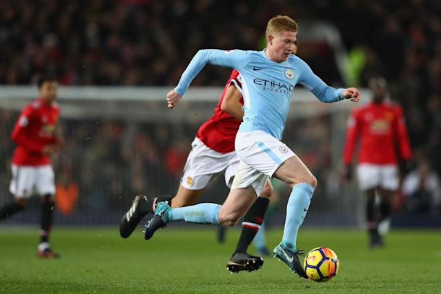 "<a class=""link rapid-noclick-resp"" href=""/soccer/players/kevin-de-bruyne/"" data-ylk=""slk:Kevin De Bruyne"">Kevin De Bruyne</a> and <a class=""link rapid-noclick-resp"" href=""/soccer/teams/manchester-city/"" data-ylk=""slk:Manchester City"">Manchester City</a> have run away from the rest of the Premier League. (Getty)"