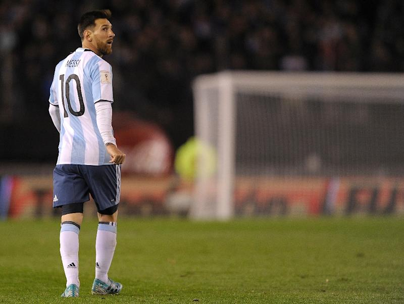 57586a0b3 Argentina's Lionel Messi gestures during their 2018 FIFA World Cup  qualifier football