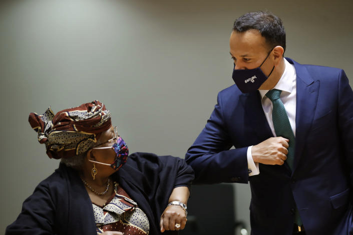 World Trade Organization Director-General Ngozi Okonjo-Iweala, left, gestures with Ireland's Trade Minister Leo Varadkar during a European Foreign Trade ministers meeting at the European Council headquarters in Brussels, Thursday, May 20, 2021. (AP Photo/Francisco Seco, Pool)