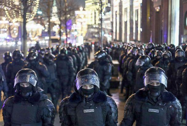PHOTO: Riot police assemble during an unauthorized rally in support of Alexei Navalny in central Moscow, Feb. 21, 2021. (TASS via Getty Images, FILE)