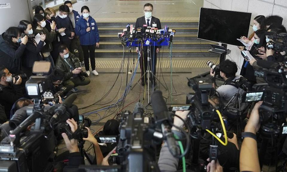 A Hong Kong police senior superintendent, Li Kwai-wah, speaks at a press conference on Wednesday