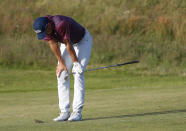 United States' Jordan Spieth looks down after playing his shot to the 15th green during the third round of the British Open Golf Championship at Royal St George's golf course Sandwich, England, Saturday, July 17, 2021. (AP Photo/Peter Morrison)