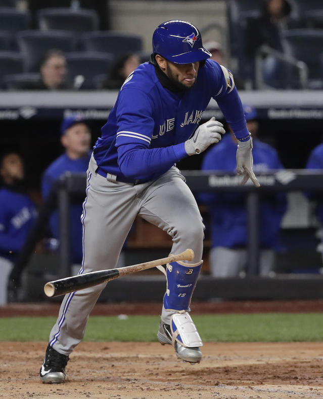 Toronto Blue Jays' Lourdes Gurriel Jr. breaks for first base on an RBI-base hit against the New York Yankees during the fifth inning of a baseball game, Friday, April 20, 2018, in New York. (AP Photo/Julie Jacobson)