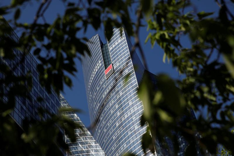 FILE PHOTO: A view shows the logo on the headquarters's of French bank Societe Generale at La Defense