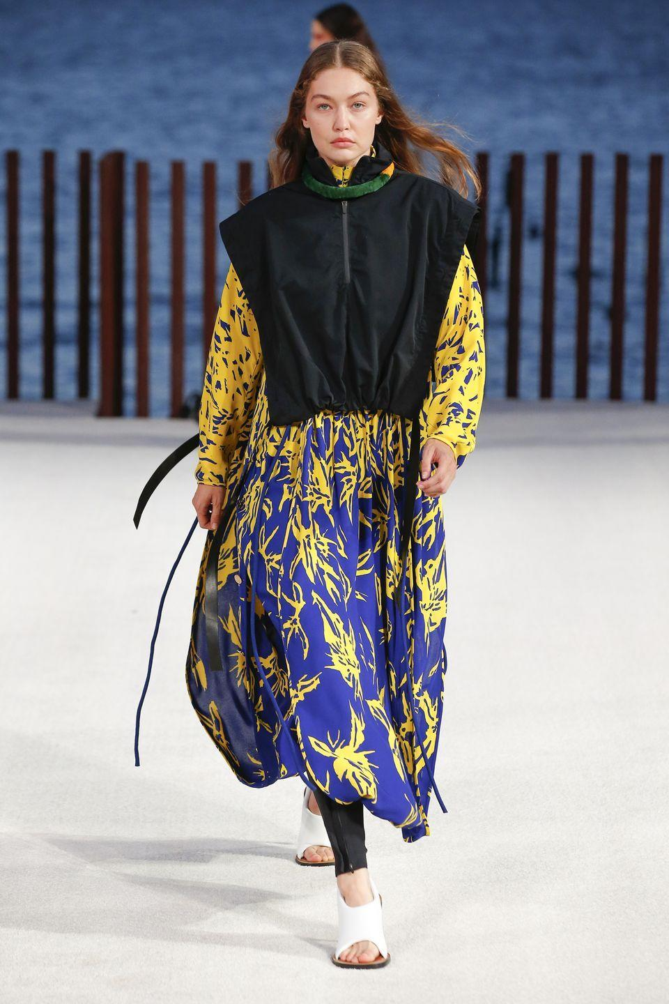 <p>Supermodel Gigi Hadid, who gave birth to her first baby late last year, was back on the New York Fashion Week runway, walking for Proenza Schouler, which presented its 'Little Island' collection. Inspired by a trip to Kauai that creative directors Lazaro Hernandez and Jack McCollough took after lockdown, the collection was all about easy breezy summer dressing with bold pops of sunshine-inspired colour and floaty fabrics.</p>