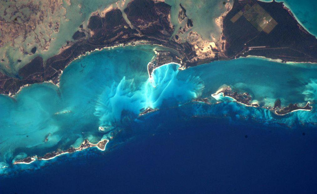 'It's hard to believe the colours of the Bahamas from space,' said Hadfield in a Tweet sent from the Space Station.