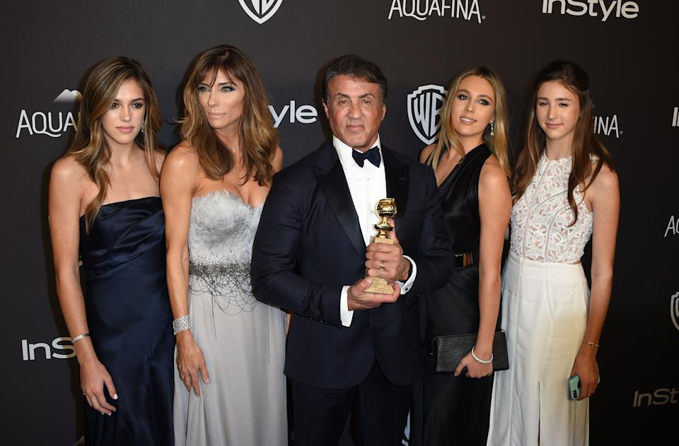 Actor Sylvester Stallone and his family attend the 2016 InStyle And Warner Bros. 73rd Annual Golden Globes after party, in Beverly Hills, California, on January 10, 2015. AFP PHOTO / Mark Ralston / AFP / MARK RALSTON        (Photo credit should read MARK RALSTON/AFP via Getty Images)