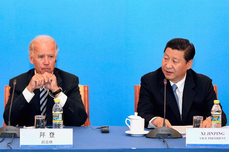 FILE - This Aug. 19, 2011 file-pool photo shows Vice President Joe Biden and Chinese counterpart Xi Jinping at the Beijing Hotel in Beijing, China. In what was supposed to be a warm reunion, Vice President Joe Biden and Chinese President Xi Jinping meet instead Wednesday in a climate fraught with tension over an airspace dispute that has put Asia on edge. A day before seeing Xi, Biden stood in Japan and publicly rebuked China for trying to enforce its will on its neighbors, escalating the risk for a potentially dangerous accident. (AP Photo/Lintao Zhang, File-Pool)