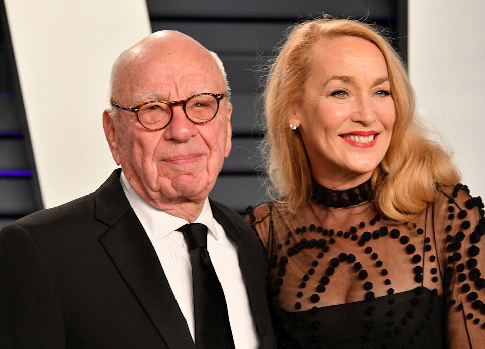 BEVERLY HILLS, CA - FEBRUARY 24:  Rupert Murdoch (L) and Jerry Hall attend the 2019 Vanity Fair Oscar Party hosted by Radhika Jones at Wallis Annenberg Center for the Performing Arts on February 24, 2019 in Beverly Hills, California.  (Photo by Dia Dipasupil/Getty Images)