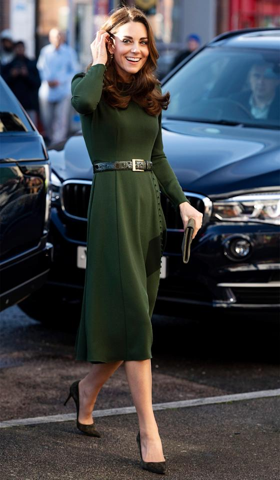 "Kate wears a Beulah London dress and pumps by Gianvito Rossi for <a href=""https://www.vanityfair.com/style/2019/01/kate-middleton-beulah-green-dress-family-action?mbid=synd_yahoo_rss"">an engagement at Family Action</a>, a charity she worked with closely throughout the year."