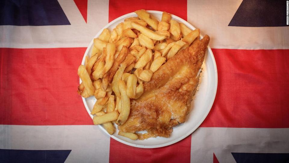 "<p>There's no dish more British than fish and chips. </p><div class=""cnn--image__credit""><em><small>Credit: Suzanne Plunkett/CNN / Suzanne Plunkett</small></em></div>"