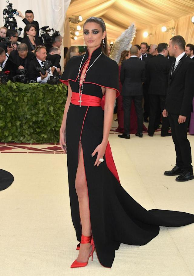 <p>Taylor Hill attends the Heavenly Bodies: Fashion & The Catholic Imagination Costume Institute Gala at The Metropolitan Museum of Art on May 7, 2018 in New York City. (Photo: Getty Images) </p>