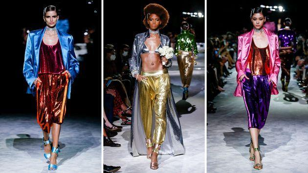 Tom Ford walked models down the runway on Sept. 12 in layers of shining, jewel- and metallic-toned fabrics. (Photo: Getty)
