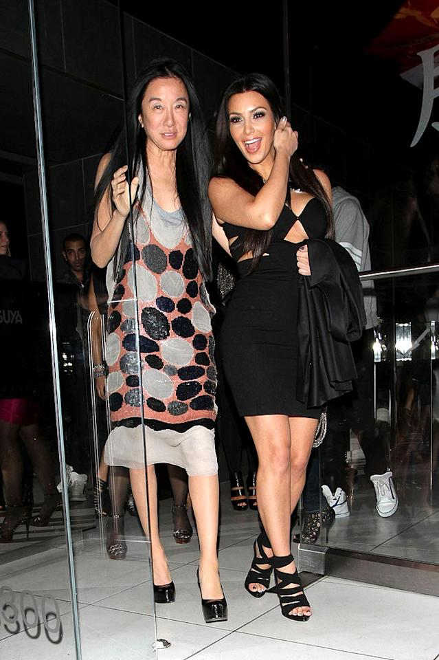 "After attending a live broadcast of ""Dancing With the Stars,"" Kim Kardashian (with designer Vera Wang) headed to sushi Hollywood hot spot Katsuya. Hellmuth Dominguez/<a href=""http://www. PacificCoastNews.com"" target=""new"">PacificCoastNews.com</a> - May 10, 2010"