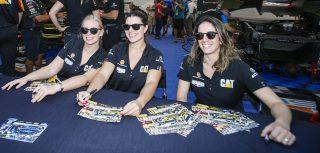 <em>Christina Nielsen (left) and Katherine Legge (with Bia Figueiredo at a 2019 autograph session) are working on running more races together afer the Rolex 24 this season (IMSA).</em>