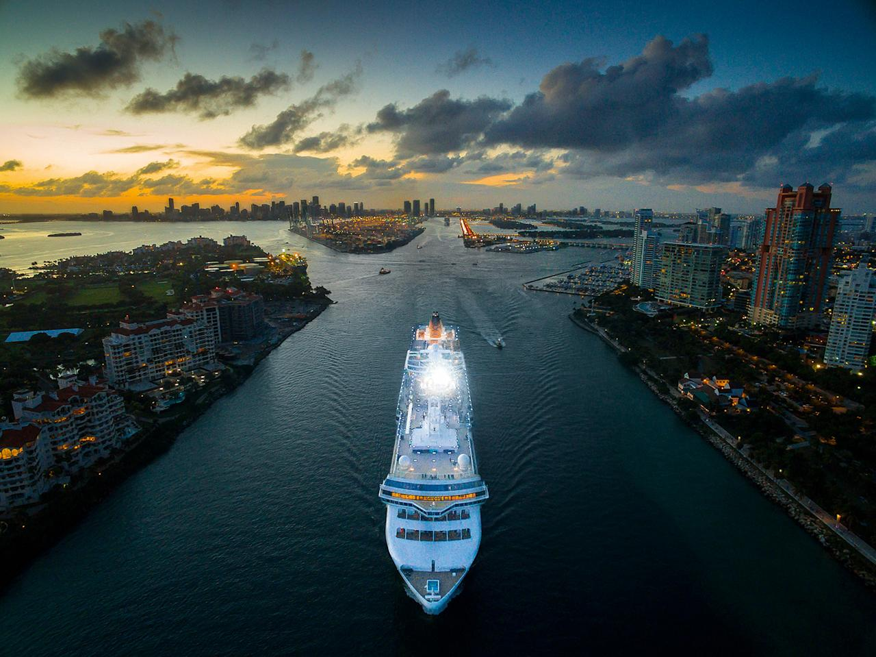 <p>Cruise ship in Miami, by iMaerial_com, taken at 131 feet. (Caters News) </p>