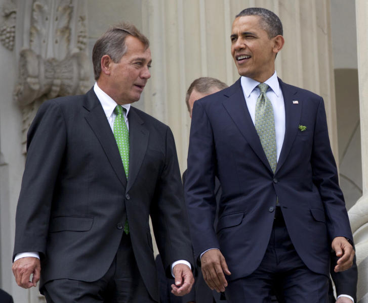 FILE - This March 20, 2012 file photo shows House Speaker John Boehner of Ohio and President Barack Obama walk down the steps of the Capitol in Washington. The people of an intensely divided nation just created a government that looks the same way as the one before. The only hope for progress on creating jobs and everything else would be if Obama and Republicans in Congress could find some incentive to compromise. (AP Photo/Carolyn Kaster, File)