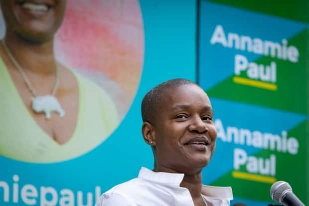 Green Party Leader Annamie Paul opens her Toronto Centre campaign office on July 22, 2021.  (Evan Mitsui/CBC - image credit)