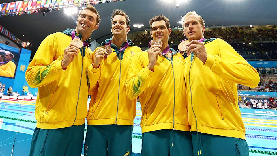 Aussie swimmers Christian Sprenger, James Magnussen, Matt Targett, and Hayden Stoeckel could lose their bronze medals from the 4x100m medley relay at the 2012 Olympics if Brenton Rickard, who competed in the heats but not the final, is found guilty of doping offences.  (Photo by Al Bello/Getty Images)