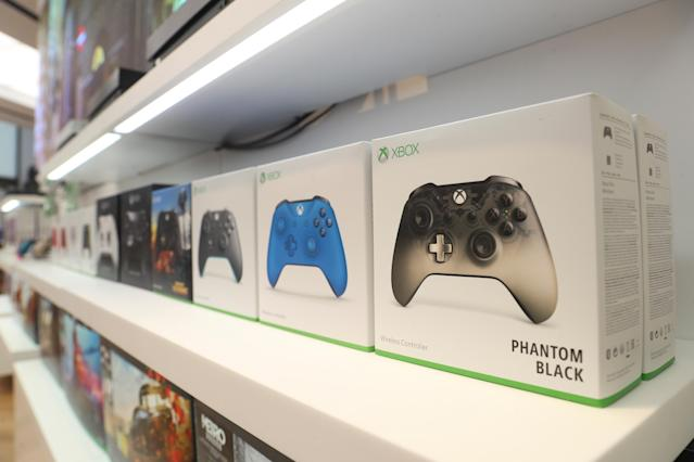 Xbox gaming controllers sit on a display shelf at Microsoft's new Oxford Circus store ahead of its opening in London, Britain July 9, 2019. Picture taken July 9, 2019. REUTERS/Simon Dawson