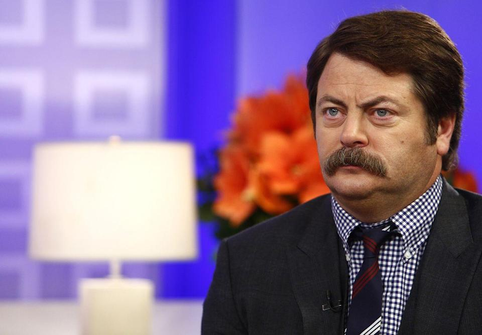 <p>It's hard to think of<em> Parks and Rec</em> without Offerman's thick, burly mustache that is an iconic character in its own right.</p>