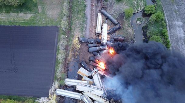 PHOTO: Fire is seen on a Union Pacific train carrying hazardous material that has derailed in Sibley, Iowa, U.S., in this still frame obtained from social media drone video dated May 16, 2021. (Nathan Minten/NATHAN MINTEN via Reuters)