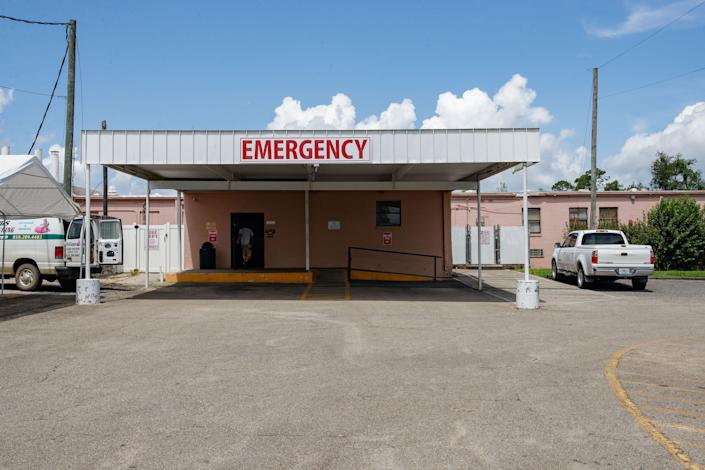 The emergency room entrance at the Calhoun Liberty Hospital located in Blountstown, Florida on Wednesday, July 21, 2021.