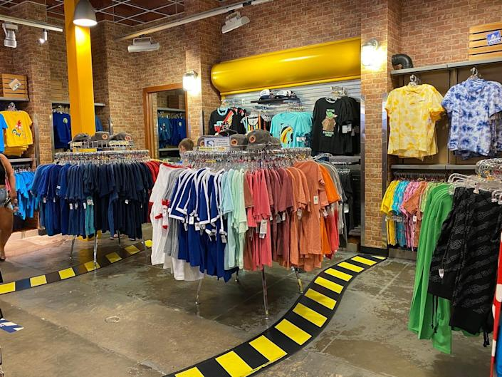 Clothes inside Disney's Character Warehouse.