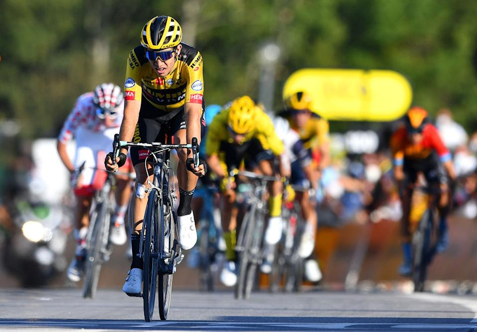 LA ROCHESURFORON FRANCE  SEPTEMBER 17 Arrival  Wout Van Aert of Belgium and Team Jumbo  Visma  Celebration  during the 107th Tour de France 2020 Stage 18 a 175km stage from Mribel to La Roche sur Foron 543m  TDF2020  LeTour  on September 17 2020 in La RochesurForon France Photo by Stuart FranklinGetty Images