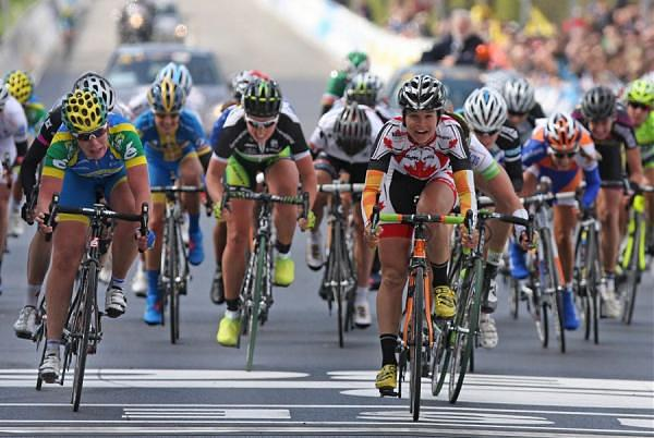 Canada's Joelle Numainville takes the bunch sprint for 3rd place at 2012 Tour of Flanders