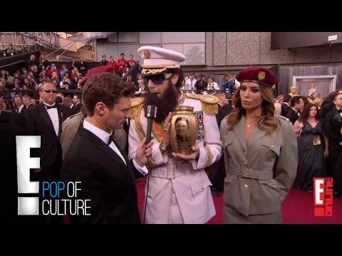 "<p>Cohen appeared in character as Admiral General Aladeen from his movie <em>The Dictator</em> on the red carpet during the 2012 Oscars, carrying a golden urn full of ashes. <em></em>While interviewing with Ryan Seacrest, Cohen/Aladeen accidentally <a rel=""nofollow"" href=""https://www.theguardian.com/film/2016/mar/01/sacha-baron-cohen-oscars-ali-g-academy"">spilled the ashes</a> all over Seacrest who was presumably upset about the ordeal. </p><p><a rel=""nofollow"" href=""https://www.youtube.com/watch?v=mhAg0COnqds"">See the original post on Youtube</a></p>"