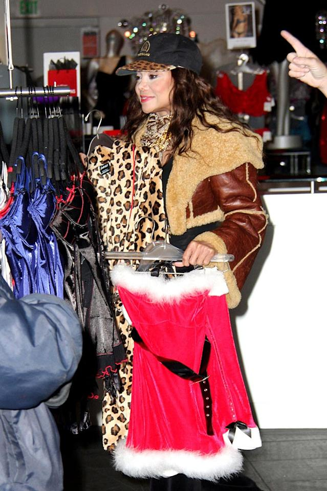 """La Toya clearly loves leopard ... and sexy Santa suits! Greg Tidwell/<a href=""""http://www. PacificCoastNews.com"""" target=""""new"""">PacificCoastNews.com</a> - December 16, 2009"""