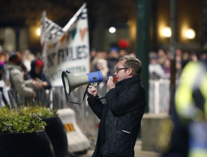Swedish organizer Henrik Ronnquist gives a speech during the first demonstration of PEGIDA in Malmoe, Sweden, on February 9, 2015 (AFP Photo/Drago Prvulovic)