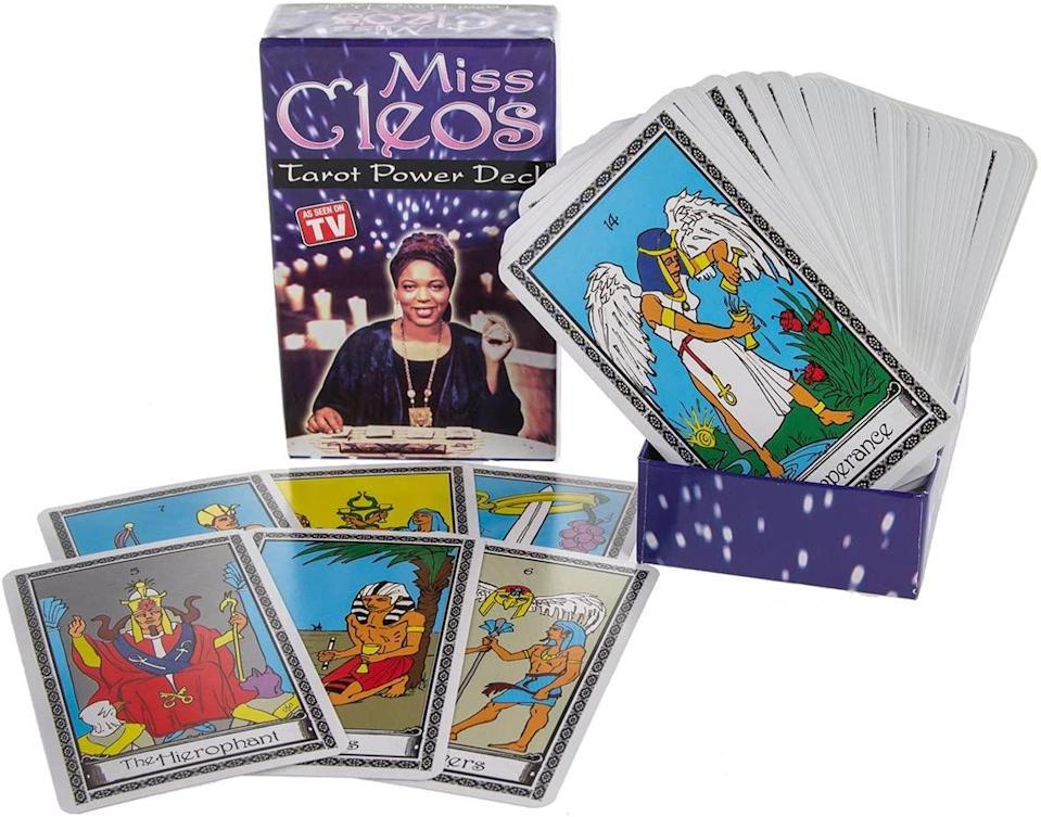 "<h2>Miss Cleo's Tarot Card Power Deck</h2><br><a href=""https://www.instagram.com/iamsarahpotter/?hl=en"" rel=""nofollow noopener"" target=""_blank"" data-ylk=""slk:Sarah Potter"" class=""link rapid-noclick-resp"">Sarah Potter</a>, a tarot reader, professional witch, and color magic practitioner based in New York City, says she uses the Miss Cleo Tarot Power Deck when she reads for clients. ""I have given thousands of readings with this deck and it still stirs up fond memories of seeing this straightforward yet warm psychic delivering her messages to clients on TV during my childhood,"" she says. ""I strive to be very direct, yet kind, candid, and supportive with all of my clients and using Miss Cleo's deck helps me embody that vibe every time.""<br><br><strong>Miss Cleo</strong> Tarot Card Power Deck, $, available at <a href=""https://www.amazon.com/Miss-Cleos-Tarot-Card-Power/dp/B005C63VJE"" rel=""nofollow noopener"" target=""_blank"" data-ylk=""slk:Amazon"" class=""link rapid-noclick-resp"">Amazon</a>"
