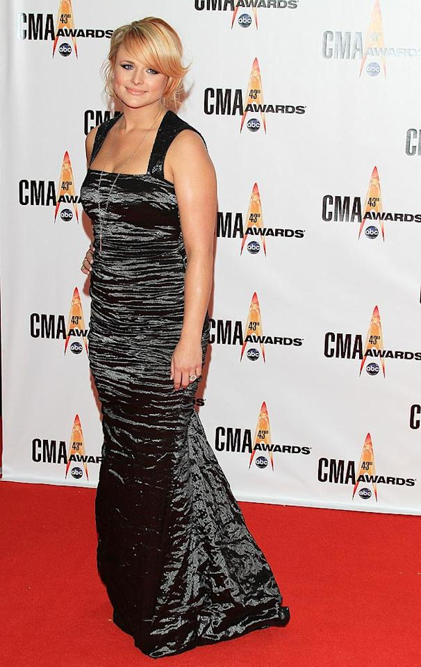 "Miranda Lambert  Grade: C  The ""Kerosene"" songstress disappointed in a ruched floor-length gown and a not-so-peachy keen coif. Taylor Hill/<a href=""http://www.wireimage.com"" target=""new"">WireImage.com</a> - November 11, 2009"