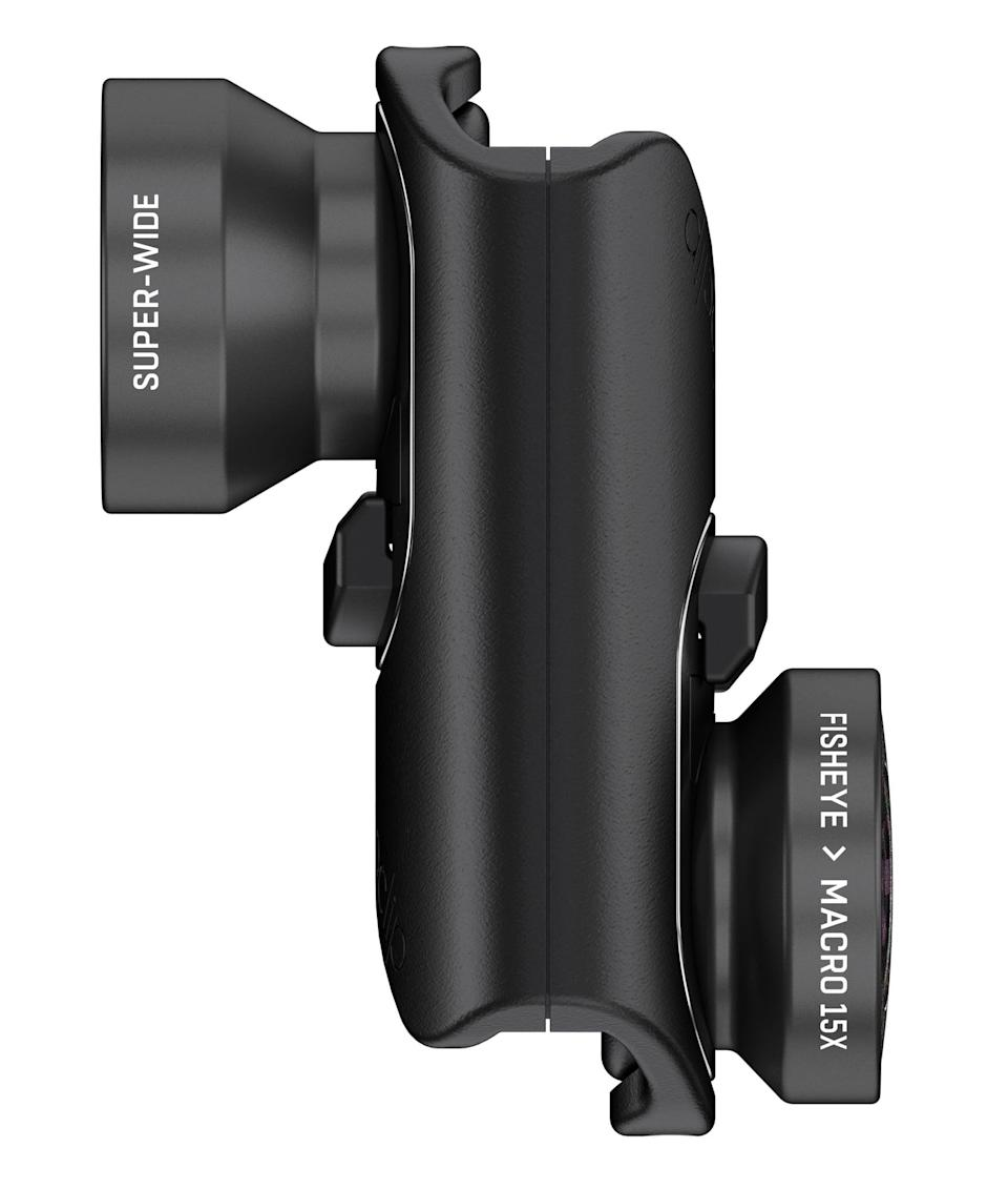 """<p>If he's looking to improve his smartphone photography, start with Olloclip's <a href=""""https://www.popsugar.com/buy/Core-Lens-Set-330730?p_name=Core%20Lens%20Set&retailer=amazon.com&pid=330730&price=70&evar1=geek%3Aus&evar9=36026397&evar98=https%3A%2F%2Fwww.popsugar.com%2Ftech%2Fphoto-gallery%2F36026397%2Fimage%2F37533859%2FOlloclip-Core-Lens-Set&list1=gifts%2Choliday%2Cgift%20guide%2Cdigital%20life%2Cfathers%20day%2Choliday%20living%2Ctech%20gifts%2Cgifts%20for%20men&prop13=api&pdata=1"""" class=""""link rapid-noclick-resp"""" rel=""""nofollow noopener"""" target=""""_blank"""" data-ylk=""""slk:Core Lens Set"""">Core Lens Set</a> ($70) for the iPhone 7/8s and 7/8s Plus. The set includes improved fish-eye, superwide, and 15x macro options. It also easily attaches to either the front- or rear-facing camera and comes complete with a wearable pendant stand that opens to a pocket-size tripod.</p>"""