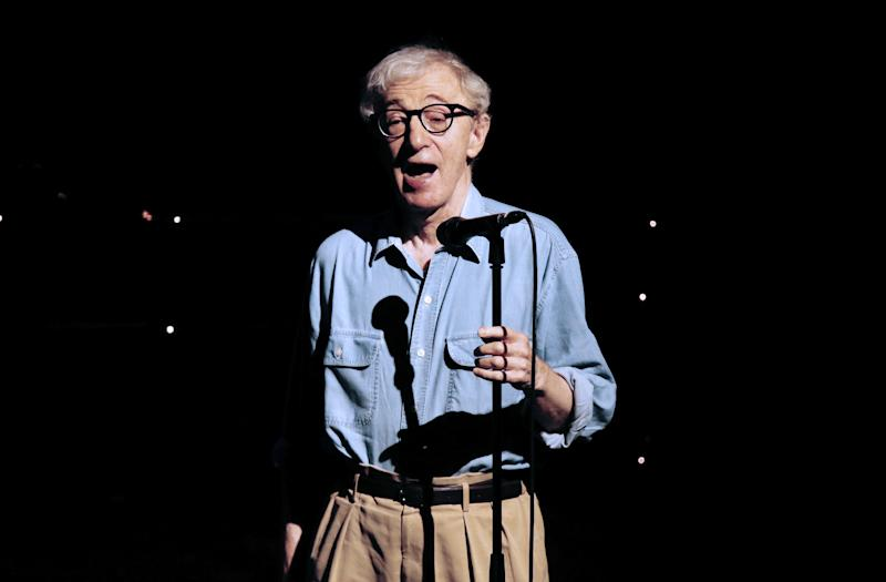 US film director Woody Allen, pictured on stage during a musical event in Antibes, southeastern France, on July 21, 2013 (AFP Photo/Valery Hache)