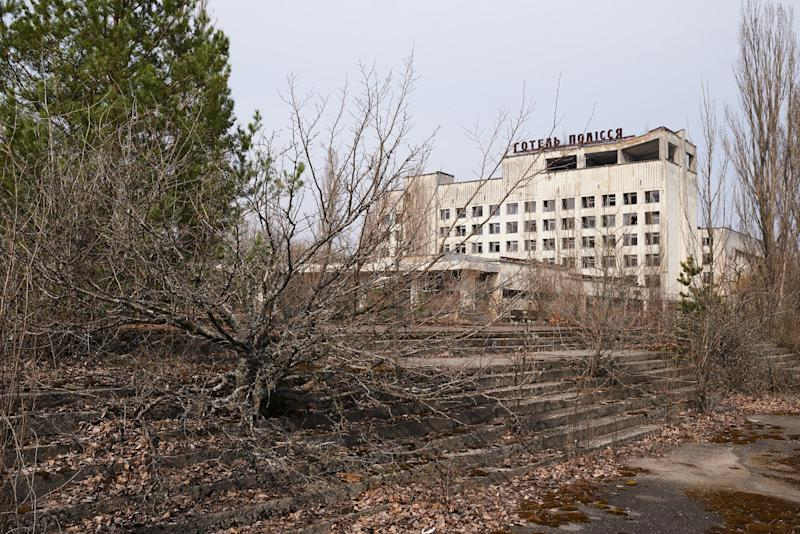 """An abandoned the building of hotel """"Polissya"""" in the Pripyat, near the Chernobyl nuclear power plant in the Exclusion Zone, Ukraine. (Photo: Vitaliy Holovin/Corbis via Getty images)"""